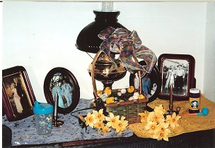 Ostara altar in the foyer